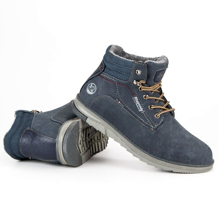 Trekkingowe Meskie Americanclub American Club Niebieskie Granatowe Traperki American Boots Timberland Boots Shoes