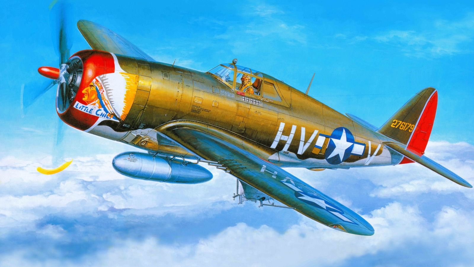 Download wallpaper art, airplane, republic, p-47, thunderbolt, fighter, air force, aviation resolution 1600x900