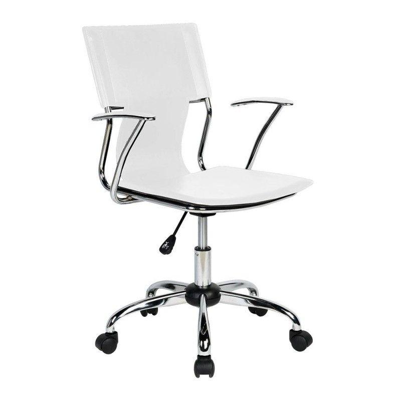 b60f372f2c Cadeira Executiva Clean Com Base Cromada - Branco Branco - MadeiraMadeira