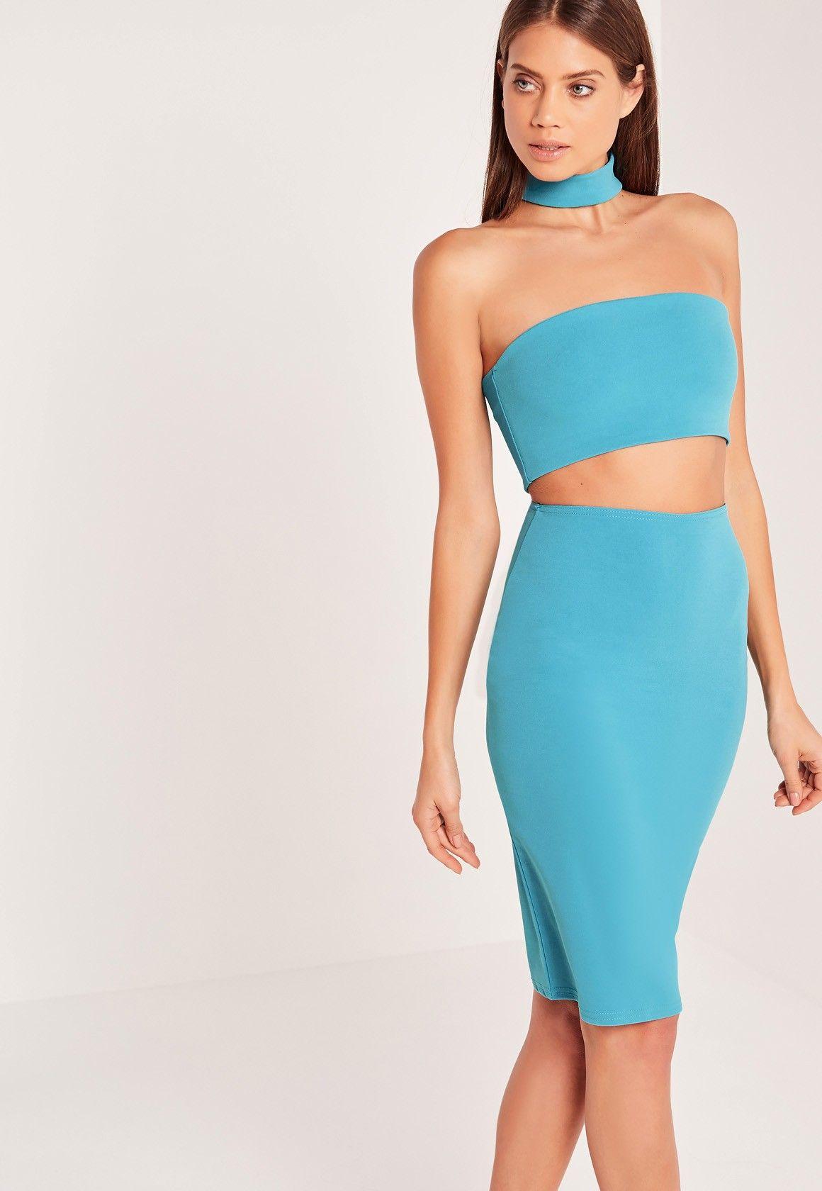 Missguided - Choker Midi Dress Blue | Honeymoon Looks | Pinterest ...