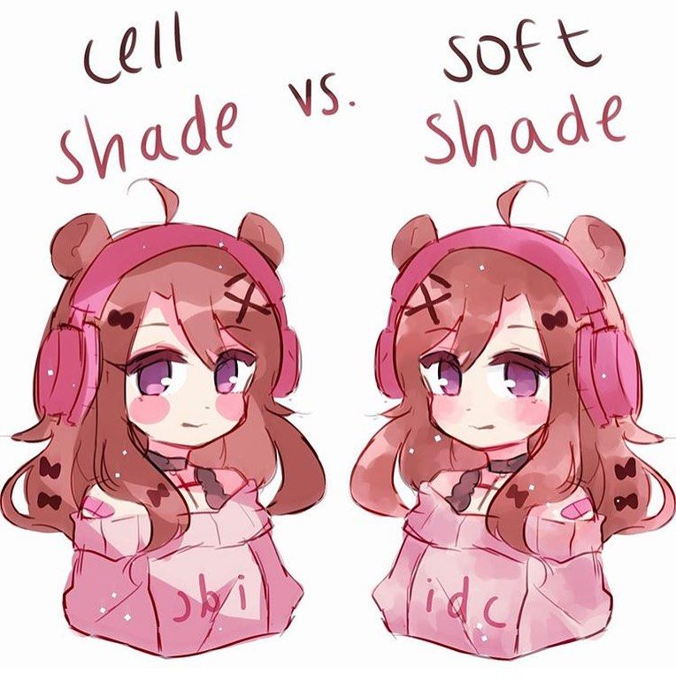 Cell Shade Vs Soft Shade Anime Drawing Styles Cell Shade Cute Art Styles