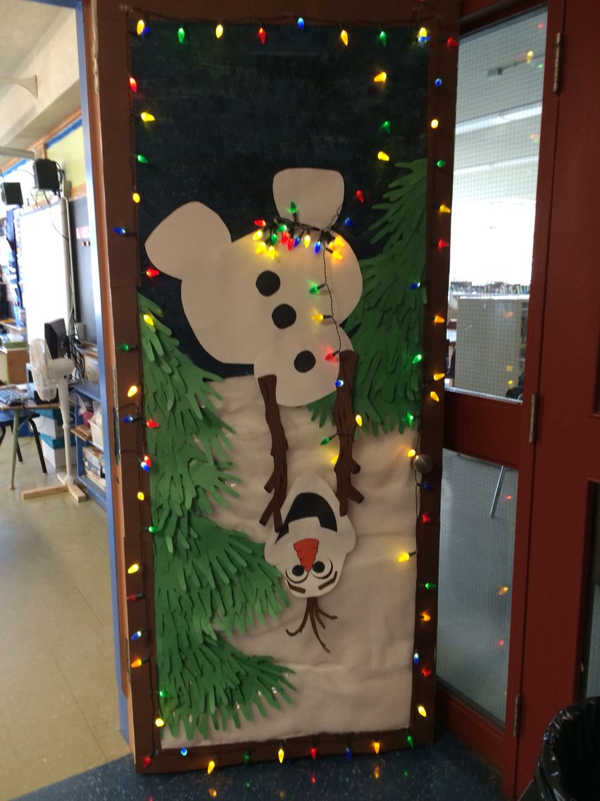 my olaf holiday door decoration for school - Pinterest Christmas Door Decorations