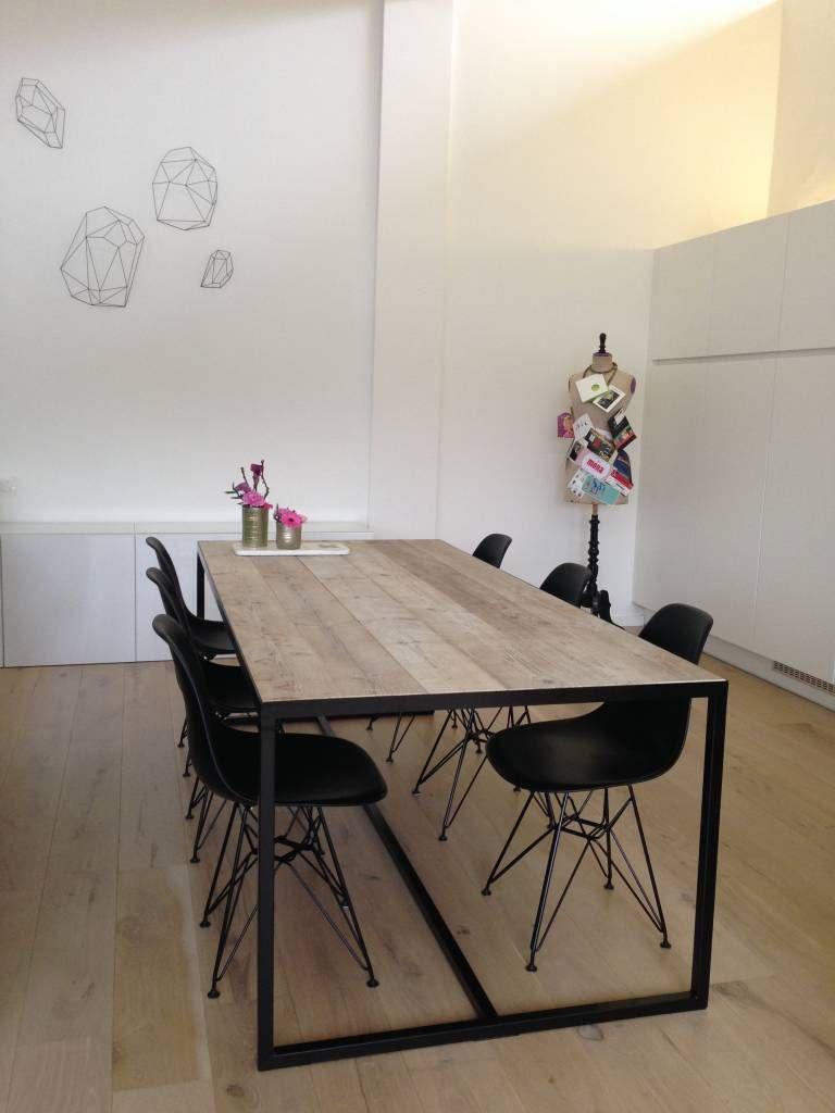 Eetkamertafel Met Ingelegd Blad.Pure Wood Design Hedensted Industriele Tafel Steigerhout Ingelegd