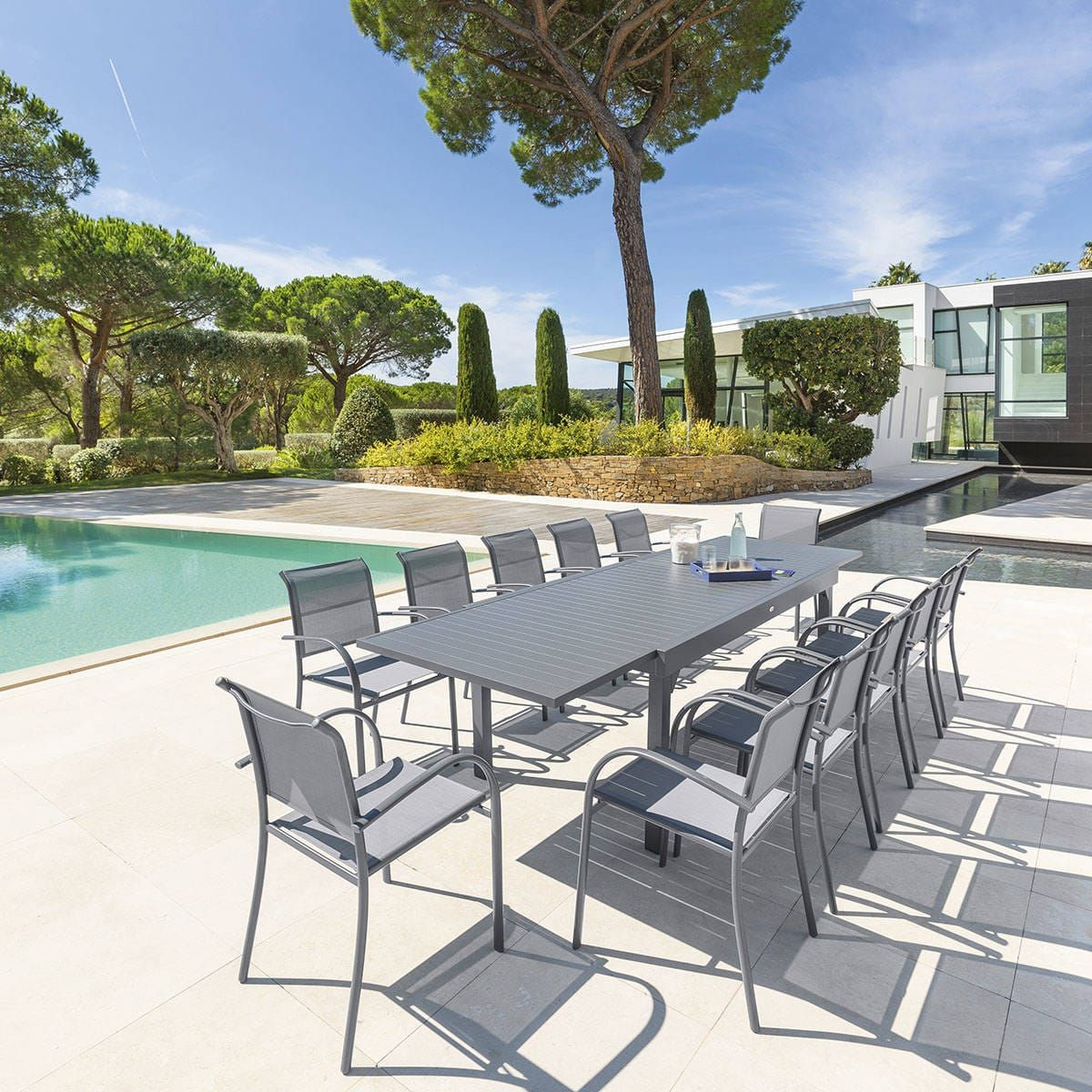 Table de jardin extensible Piazza Ardoise Hespéride 12 places ...