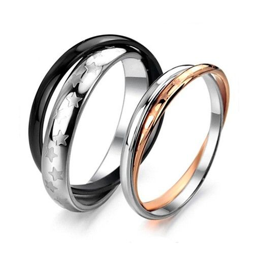 Double Rings Design with Star Pattern Couple RingsWedding Bands