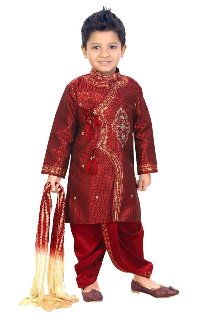 So Cute Boy Wearing Red Color Indian Jodhpuri Typically