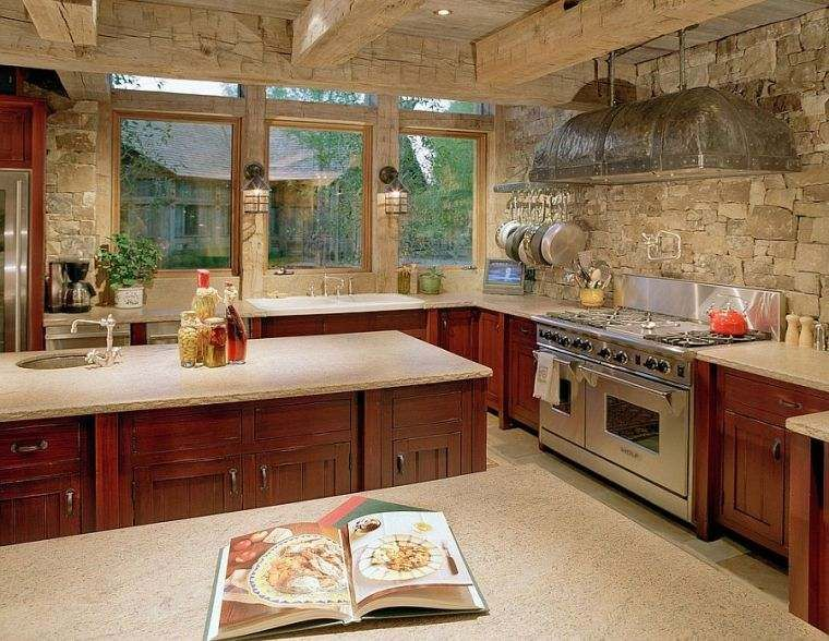 Decorative stone for the walls of the kitchen in 49 examples
