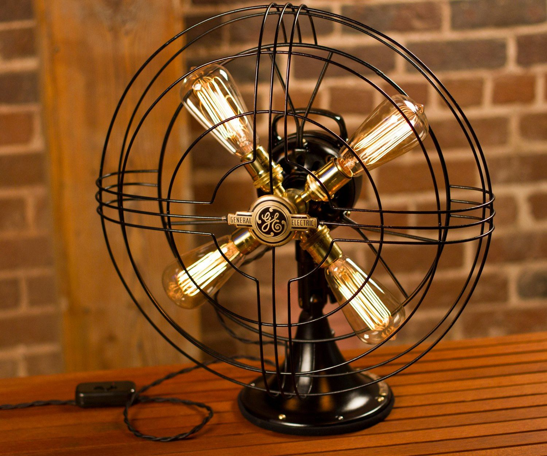 Vintage Fan Lamp, Edison Lamp, Steampunk Lamp, Repurposed