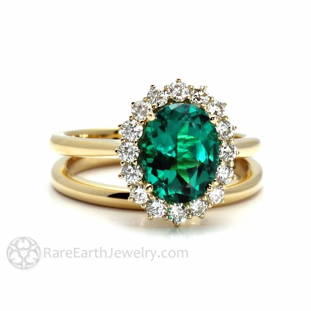 Vintage Emerald Engagement Ring Oval Cluster With Diamonds Vintage Emerald Engagement Ring Emerald Engagement Ring Emerald Ring Vintage