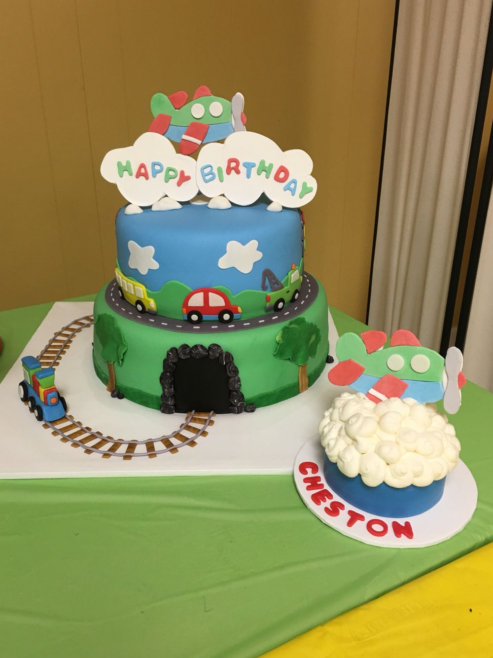 Planes Trains Cars And Trucks Birthday Cake Two Tier