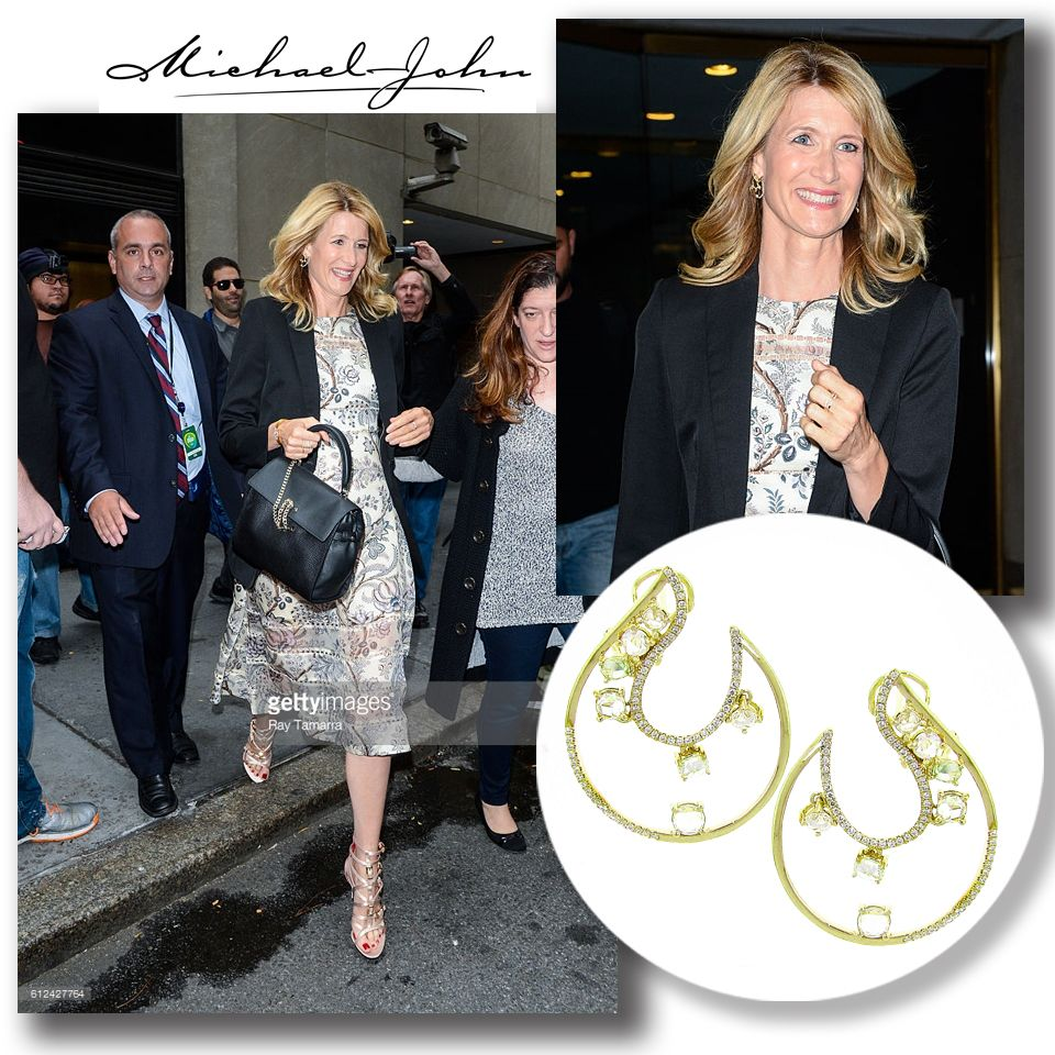 """Laura Dern (""""Wild"""", """"The Fault in our Stars"""") for wearing#michaeljohnjewelry's stunning Deja Vu#diamondearringswhile promoting her new series """"Big Little Lies"""" on#todayshow."""