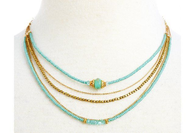 Teal Seed Shimmer Trio w/ Opal Necklace