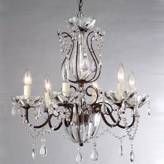Frankenstein Antique Bronze And Crystal 6 Light Chandelier