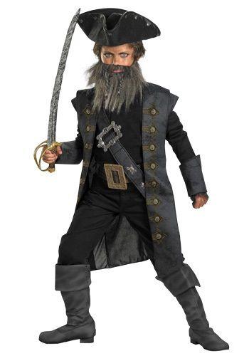 Black Beard Pirate Caribbean Captain Fancy Dress Halloween Deluxe Adult Costume