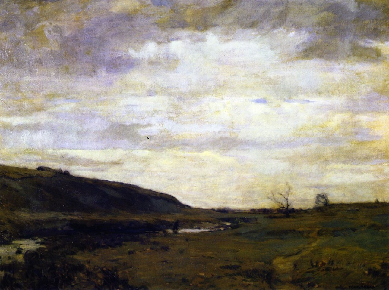 """The Muskrat Hunter,"" William Langson Lathrop, 1908, oil on canvas, 43 x 53"", Reading Public Museum."