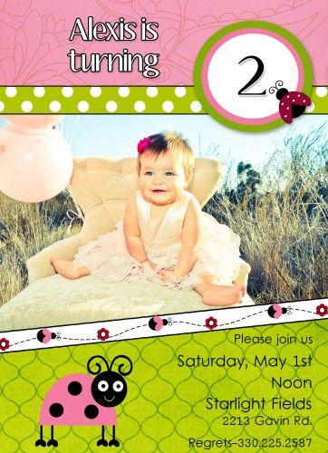 custom printable ladybug  birthday party invitation with photo