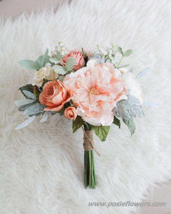 Diameter 9 Hand tied CORAL PEONY, Paper Bridal Bouquet - Boho Paper Wedding, Boho Paper Bouquet