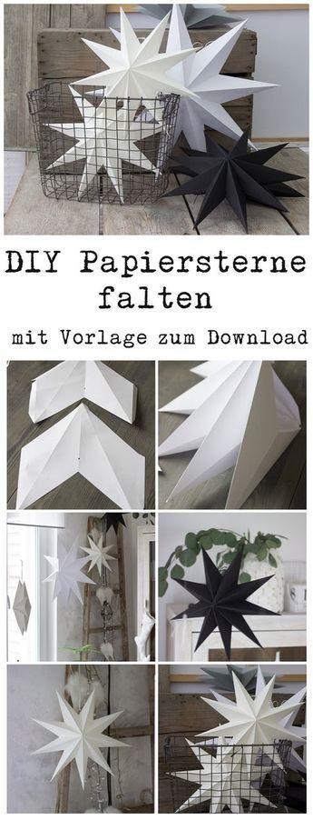 Papiersterne für die Weihnachtsdeko selber falten mit Vorlage zum Download auch für Silhouette Cameo #noel2019bricolage
