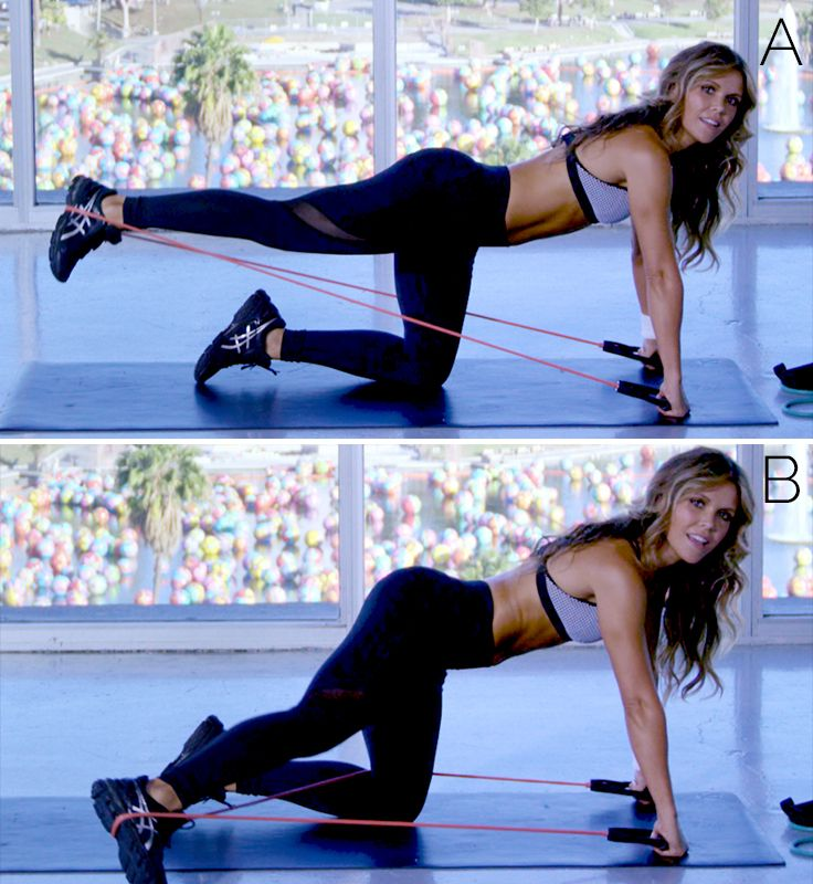 Resistance band workout with the ToneitUp girls