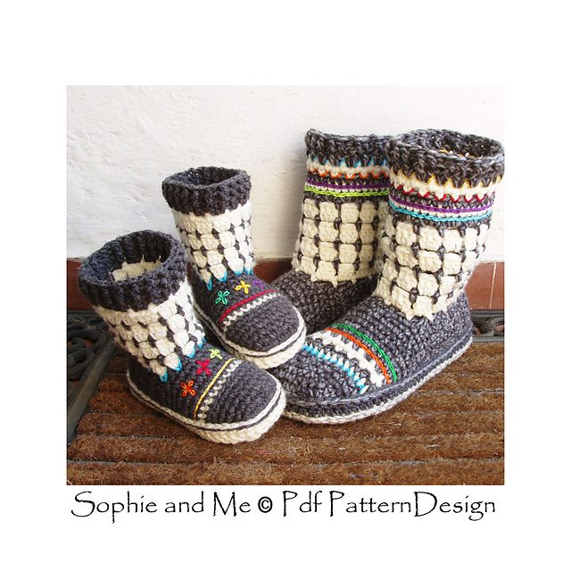 Fair Isle Slipper-Boots for Adults pattern by Sophie and Me-Ingunn ...
