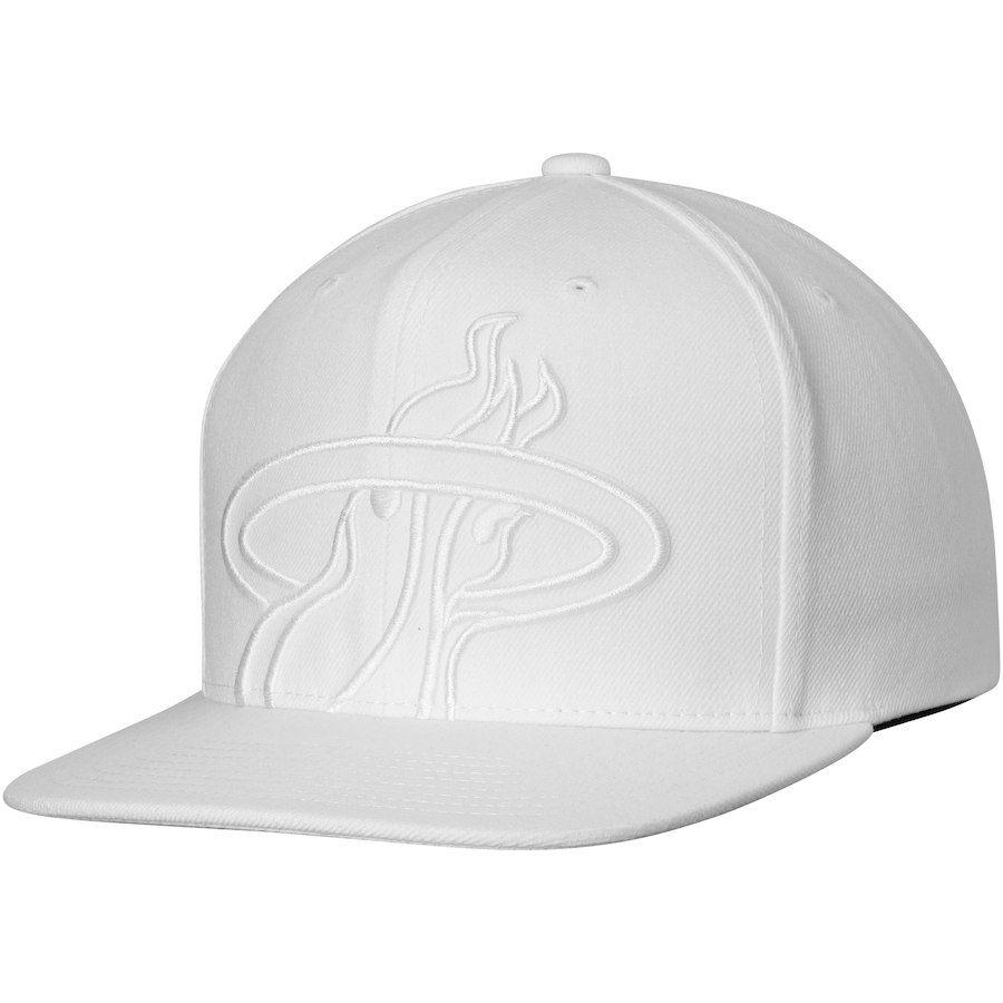 a998d7b1bde Men s Miami Heat Mitchell   Ness White Cropped XL Logo Snapback Adjustable  Hat