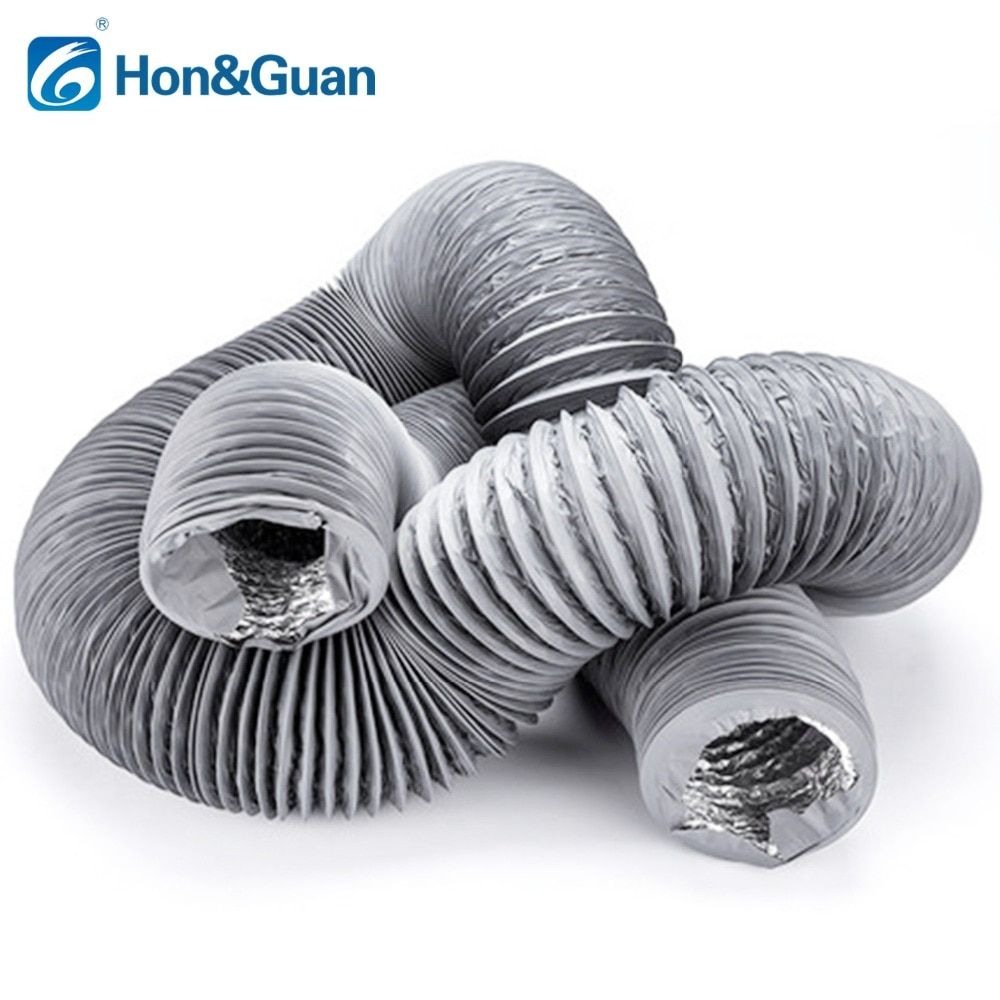 5m 4inch Flexible Aluminium Inline Duct Fan Ducting Hose With Pvc Round Ducting For Extractor Fan
