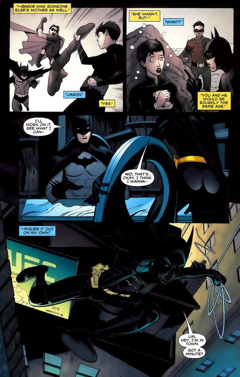 aneless:    The only timewhere Cass and Jason are drawn together on the same page, which is the closest they will ever get to meeting each other. They were the same age, they could have bonded, they could have gotten in fights. So much potential.Dammit DC!