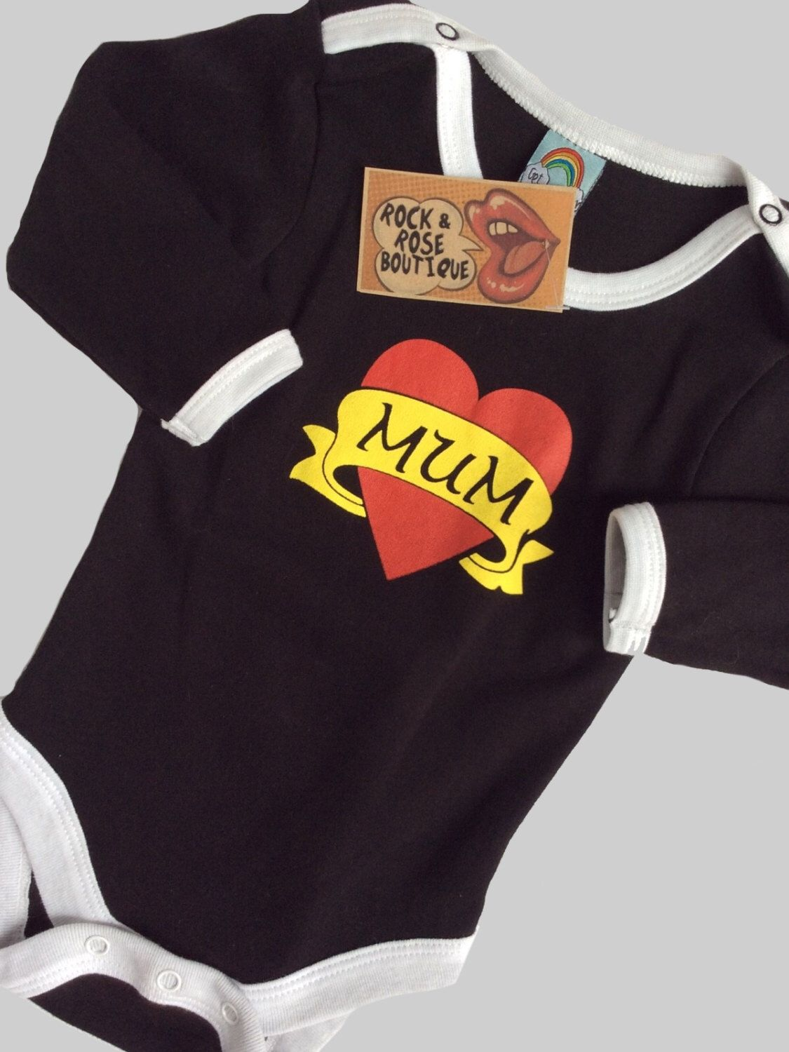 1224m Mum Tatto Heart Baby Grow Tattoo Baby Clothes