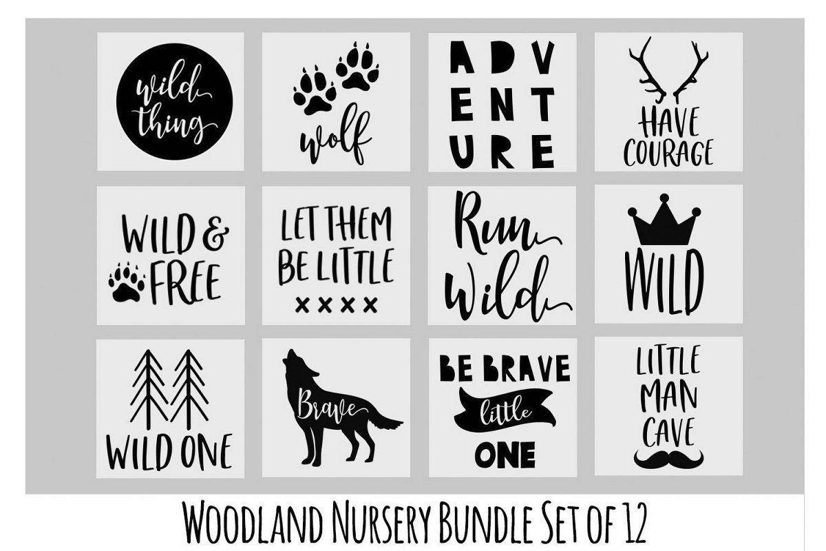 Woodland Nursery Svg Bundle Wolf Svg Baby Onesie Svg With