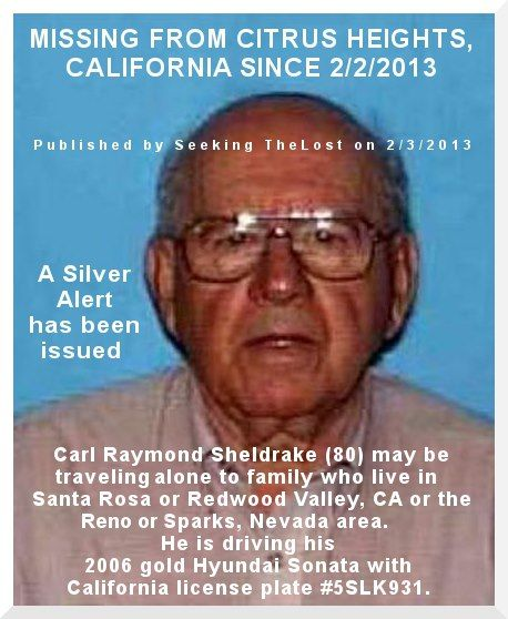 2/3/2013: Urgent: Silver Alert: Man and Car Missing from