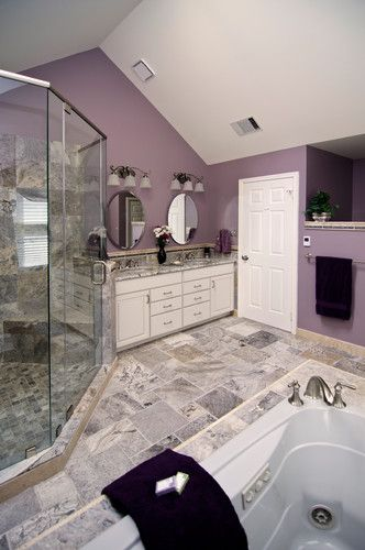Purple bathroom not feelin 39 the wall color but i like for Purple bathroom tiles ideas