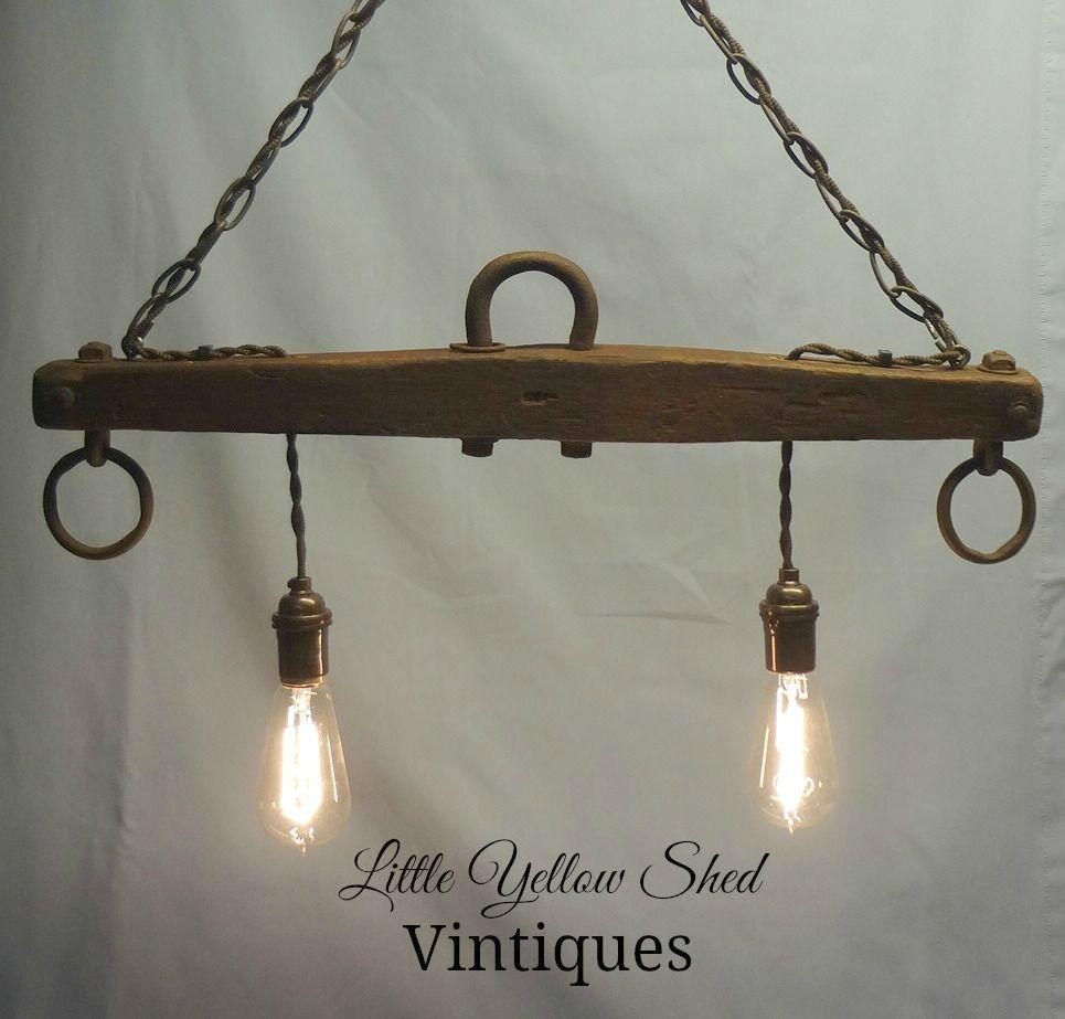 Rustic Light Industrial Chandelier Rope Pulley Yoke Wood Metal: Repurposed Horse Yoke Turned Hanging Light Using Edison