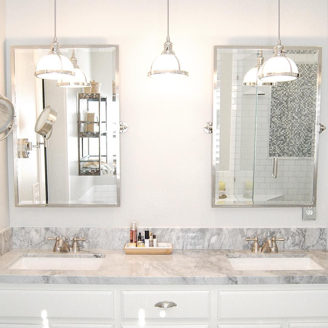 Pendant lights over vanities are a favorite of mine. #interiordesign ...