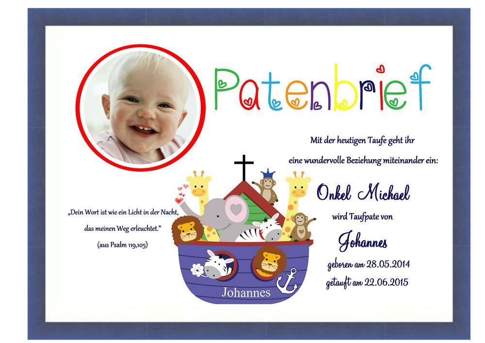 Patenbrief Für Die Taufpaten Regenbogen Arche Noah Taufe Din