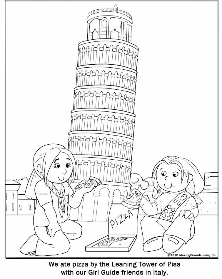 Italian Girl Guide Coloring Page Thinking Day Pinterest