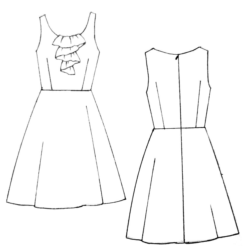 Ruffel Dress Dress Patterns Free Dress Drawing Easy Dress Drawing