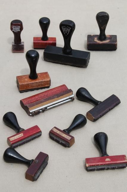 Vintage Wood Handle Desk Stamps Old Rubber Stamp Lot For Business Office Address