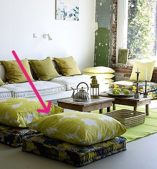 Double Up Floor Pillows For More Satisfying Seating | Tables, Floor ...
