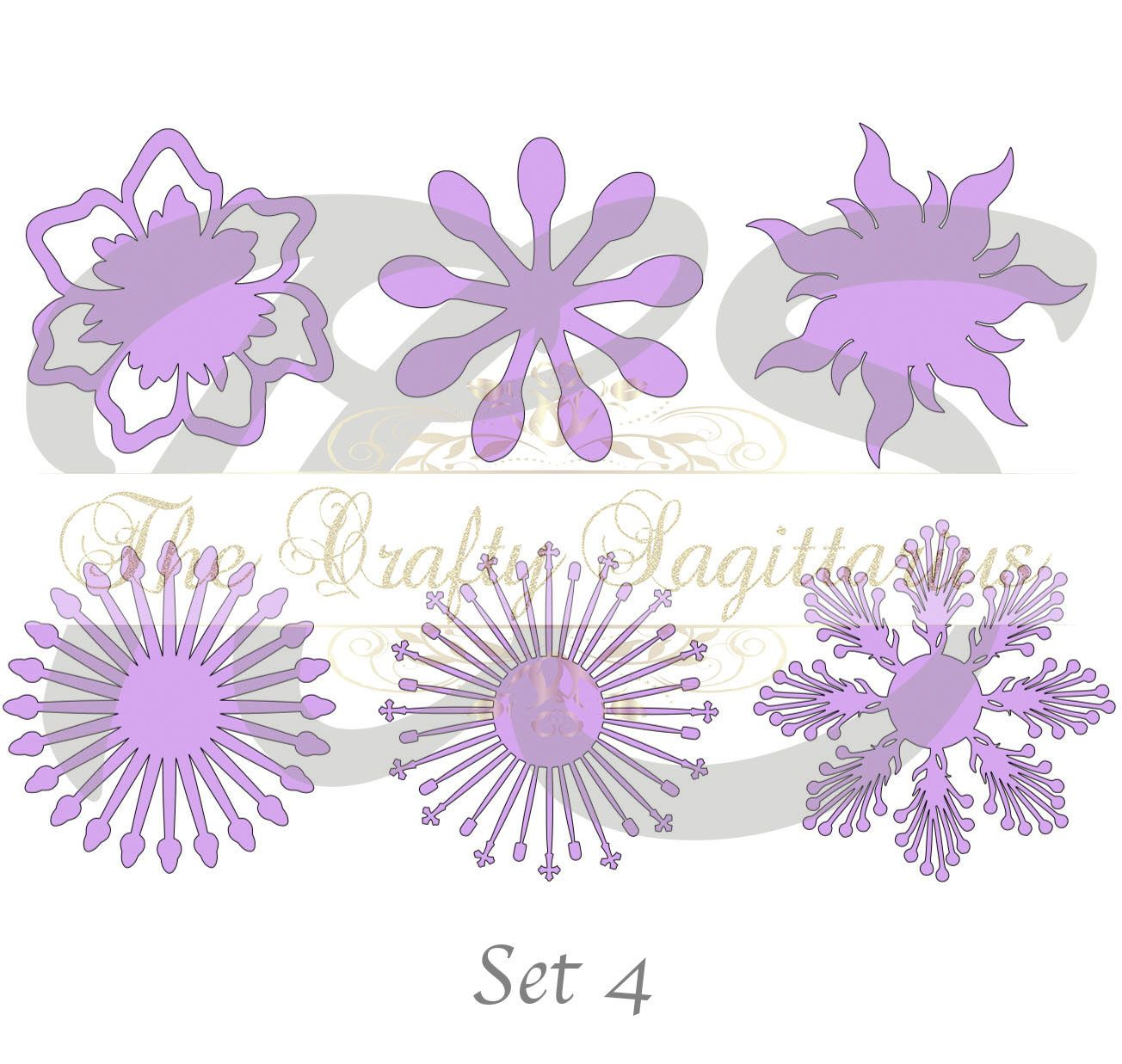 Svg Set 4 6 Different Flat Center For Paper Flowers Machine Use