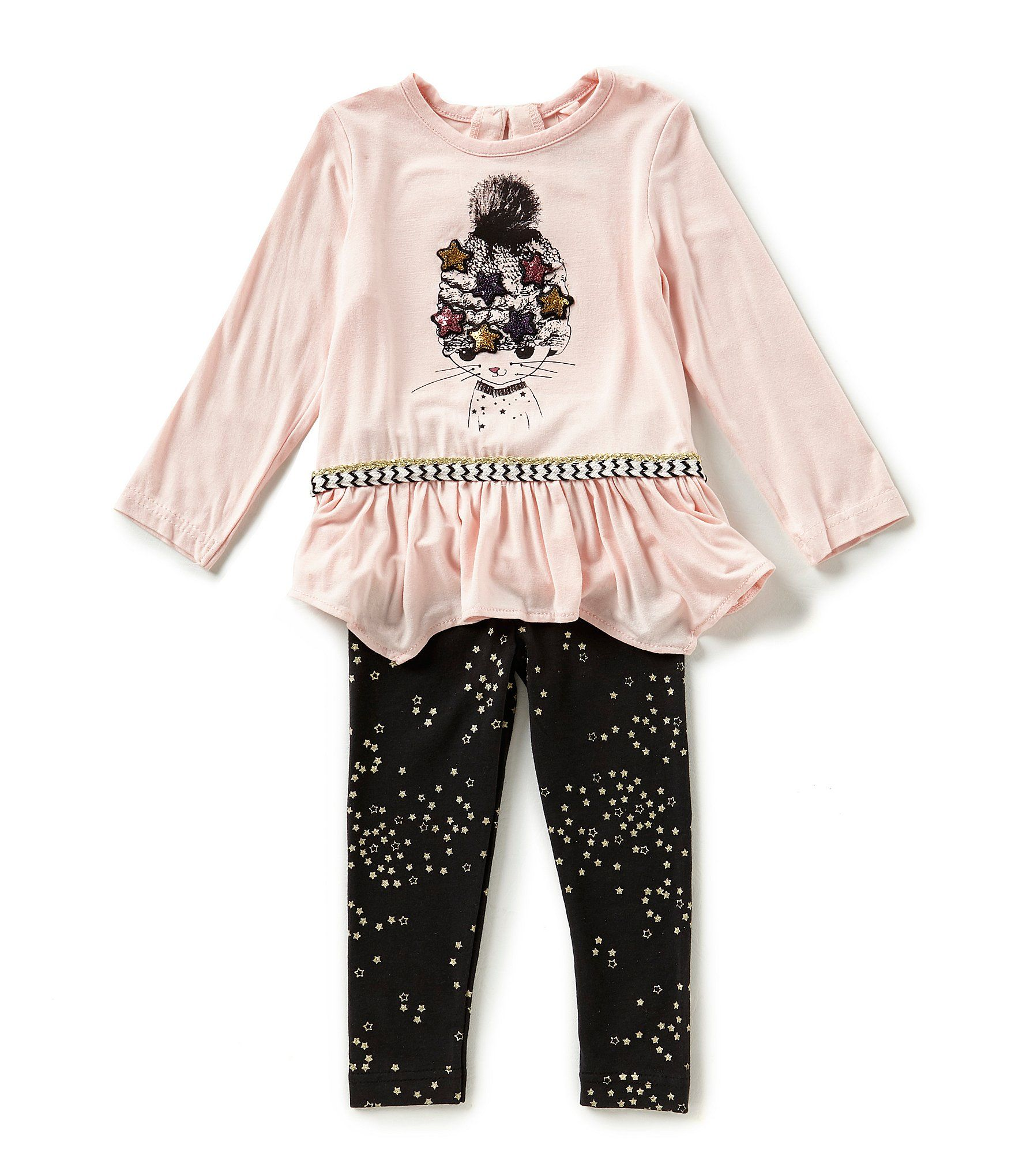 Jessica Simpson Baby Girls 12 24 Months Cat Long Sleeve Top