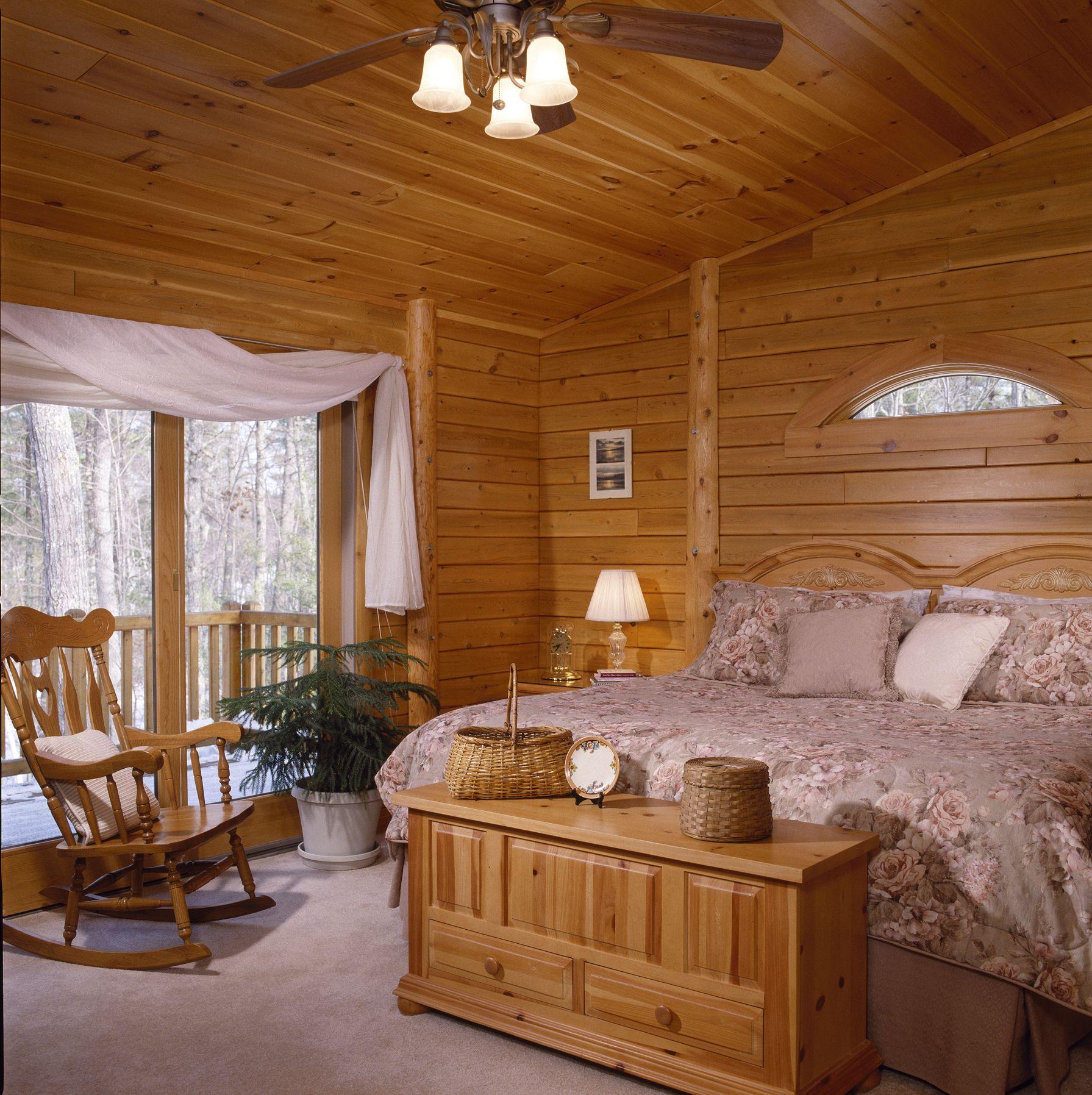 Cedar T G Paneling Log Home Bedroom Log Homes Home