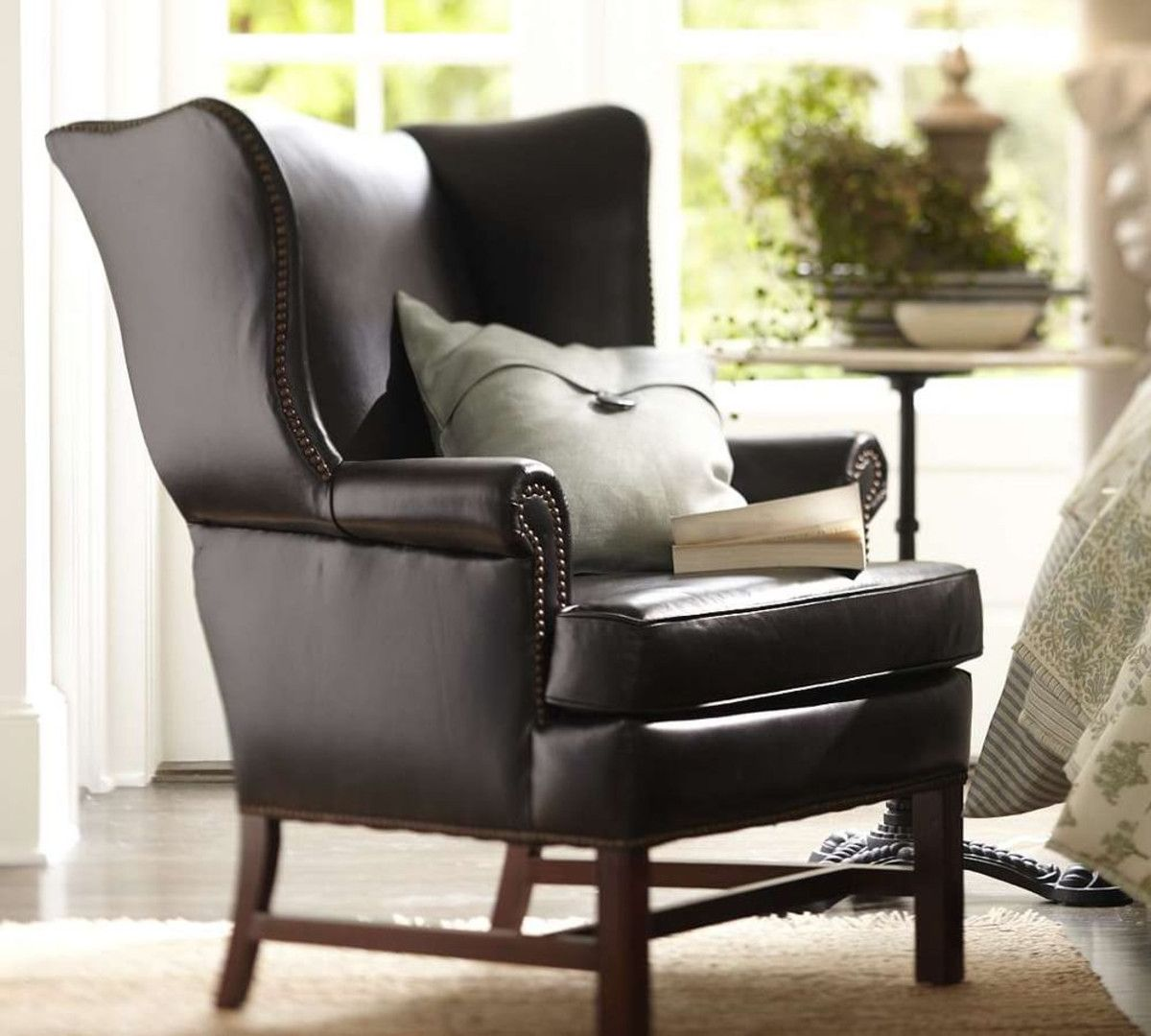 Thatcher Leather Wingback Chair Black Leather wingback