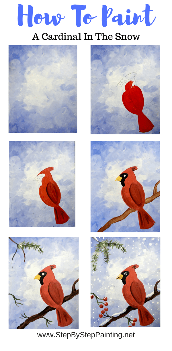 How To Paint A Snowy Cardinal  Step By Step Painting