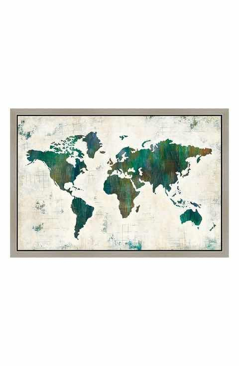 Green leaf art green map gicle print framed canvas art wall art understated splashes of color detail a distressed world map on a wrapped canvas gicle print that adds a vintage inspired aesthetic to your living space gumiabroncs Image collections