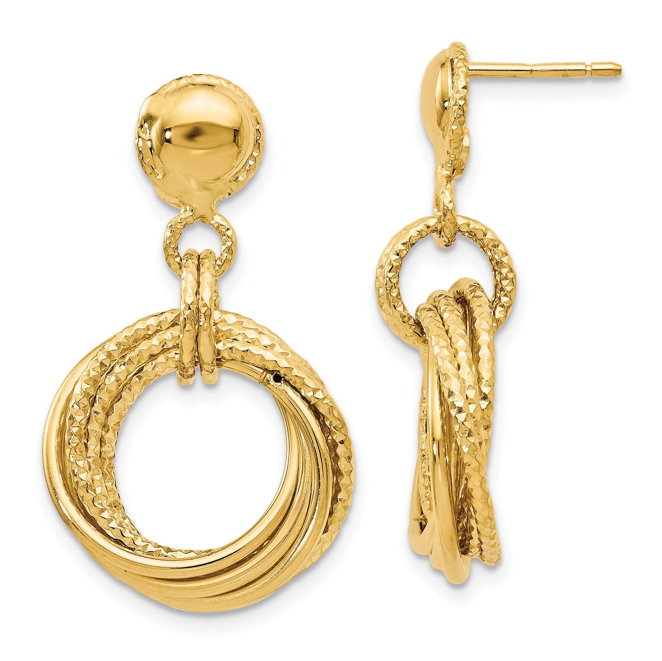 Leslies 14k Polished Diamond-cut Post Dangle Earrings LE173
