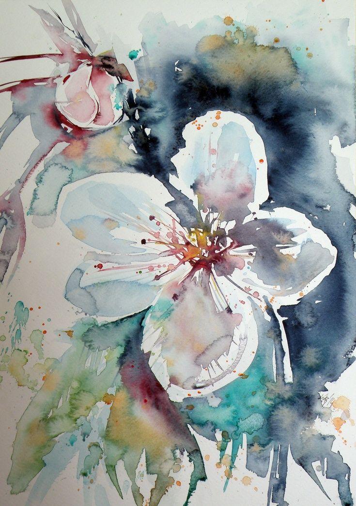 Artfinder white flower by kov cs anna brigitta original - High resolution watercolor flowers ...