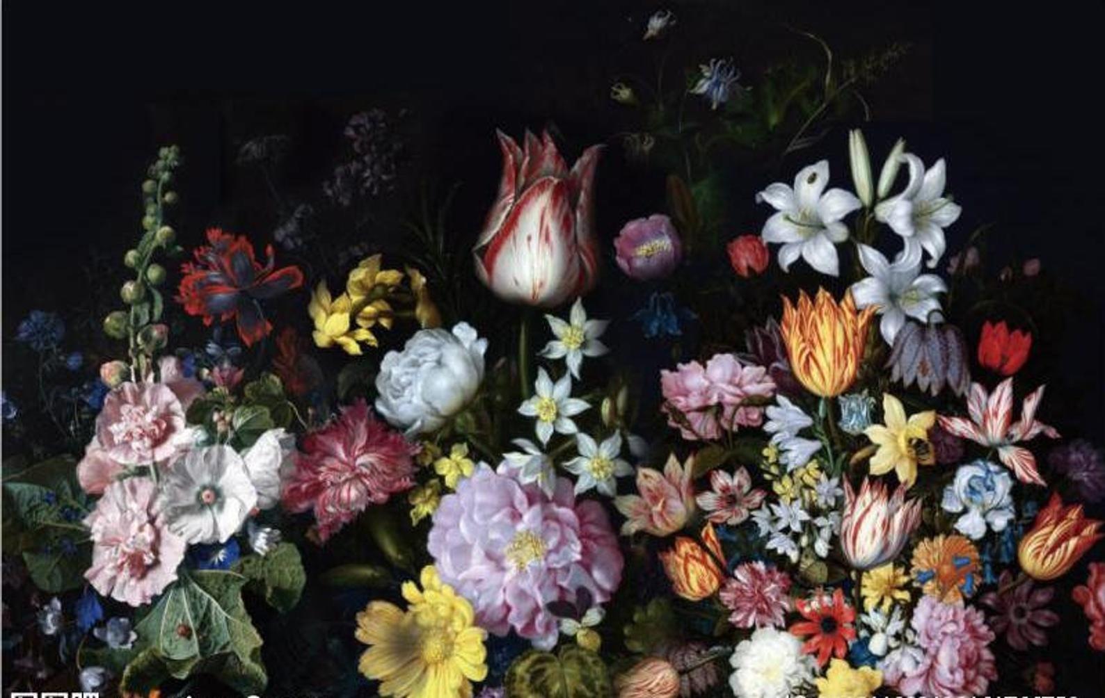 Dutch Oil Painting Vintage Floral Wallpaper, Dutch