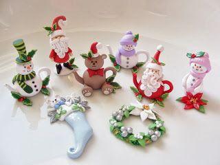 Miniature Christmas polymer clay items by Fizzyclaret