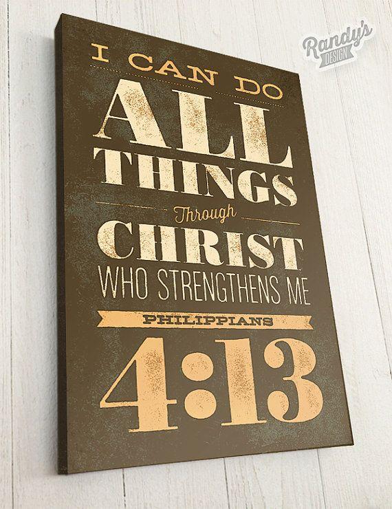 Custom Scripture Wall Art, Bible Verse, Canvas Art, Philippians 4:13, Part 28