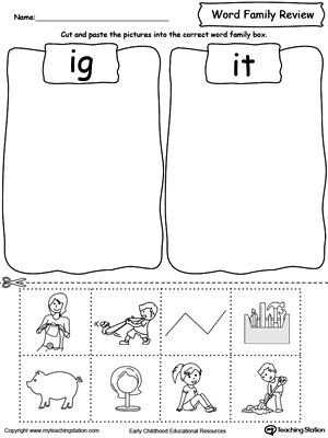 Word Family Review Picture Sorting IG/IT | Word families, Words ...